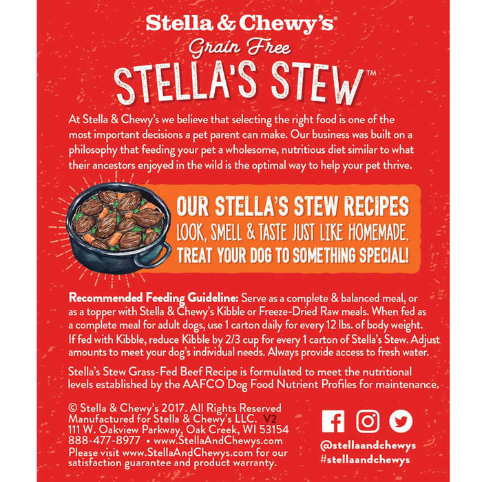 Stella & Chewy's Stew Dog Wet Food Grass-Fed Beef