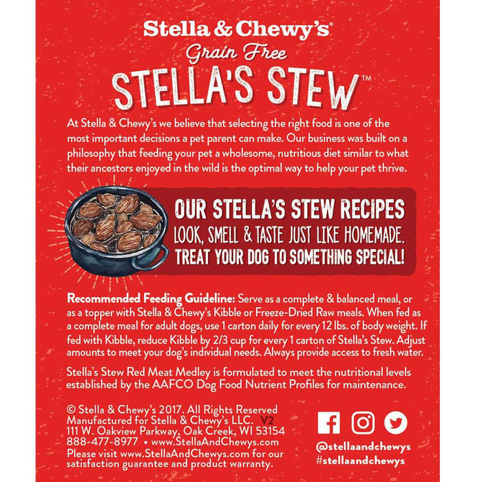 Stella & Chewy's Stew Dog Wet Food Red Meat Medley 11oz Carton, Single