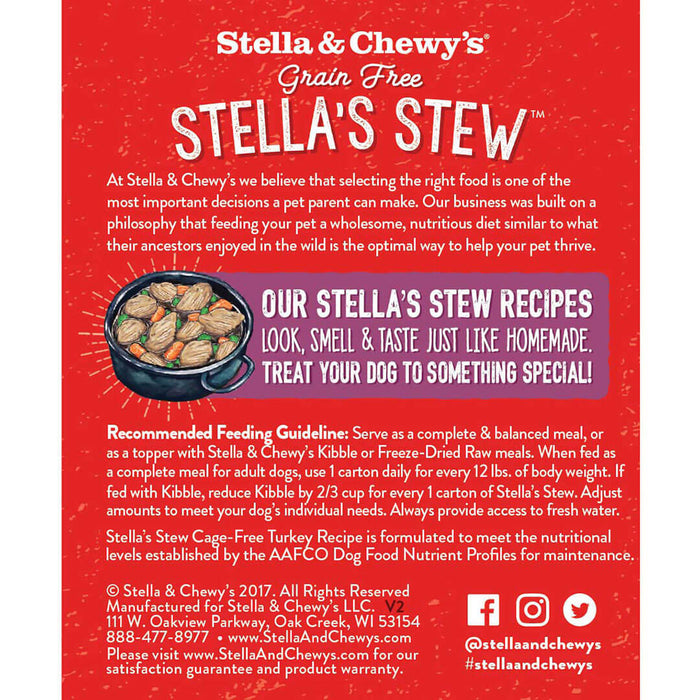 Stella & Chewy's Stew Dog Wet Food Cage-Free Turkey 11oz