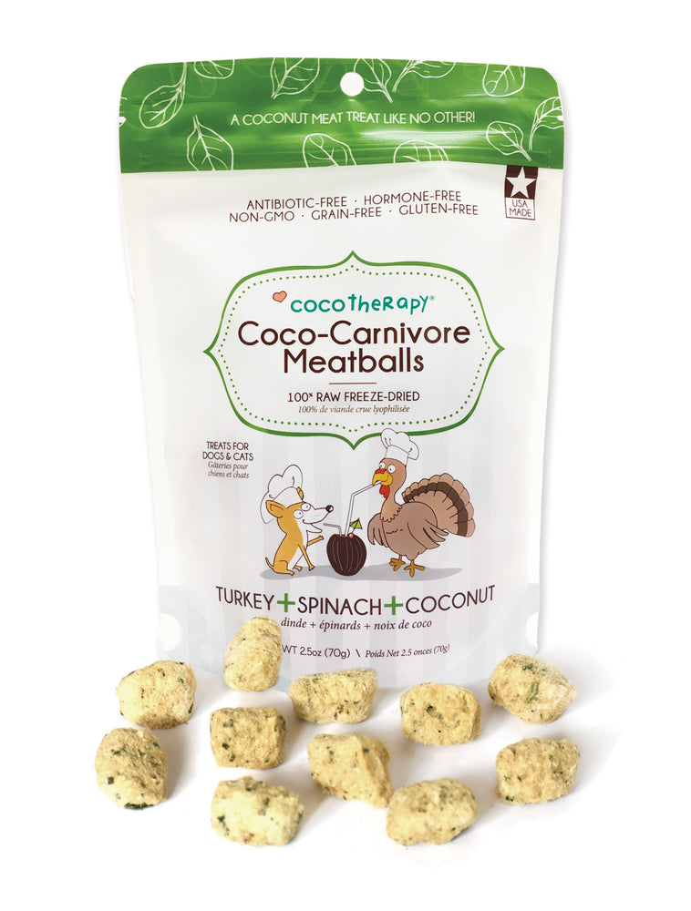 Coco Therapy Meatballs Treats Turkey Spinach Coconut, 2.5oz