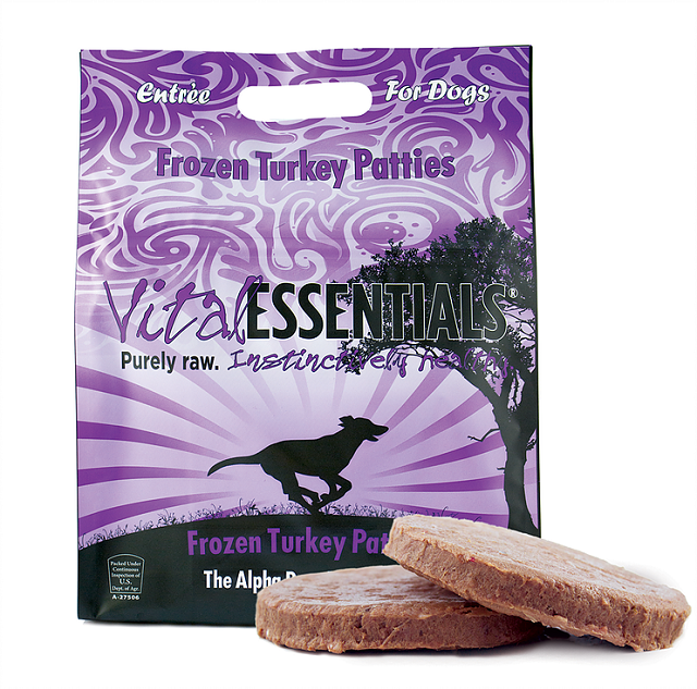 Vital Essentials Dog Frozen Raw Food Turkey Patties, 6lb