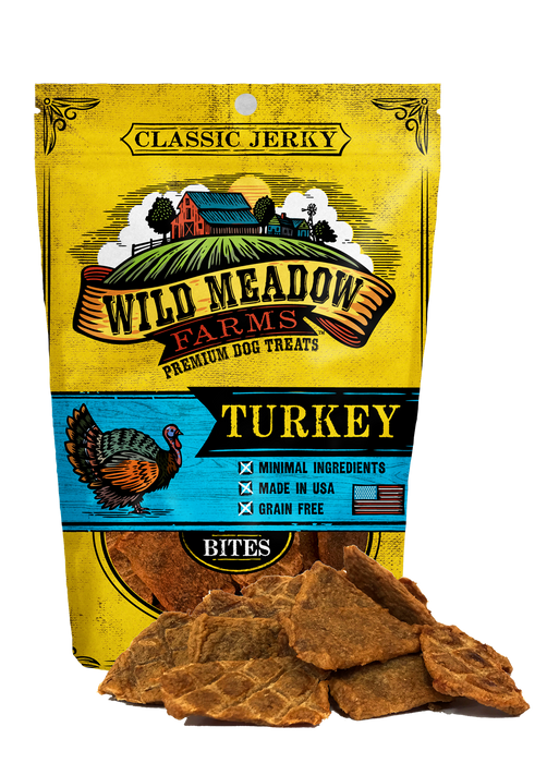 Wild Meadow Farms Dog Jerky Treats Turkey Bites, 4oz