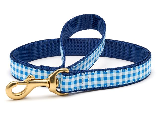 Up Country Dog Leash Blue Gingham