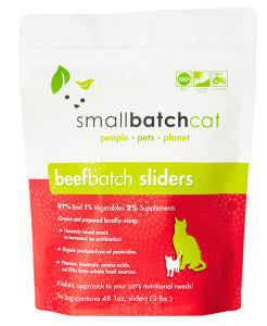 Small Batch Cat Frozen Raw Food Sliders Beef, 3lb