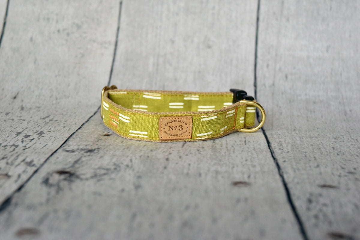 Finnegan's Cloth Dog Collar Citron Dash