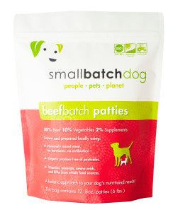 Small Batch Dog Frozen Raw Food Patties Beef, 6lb
