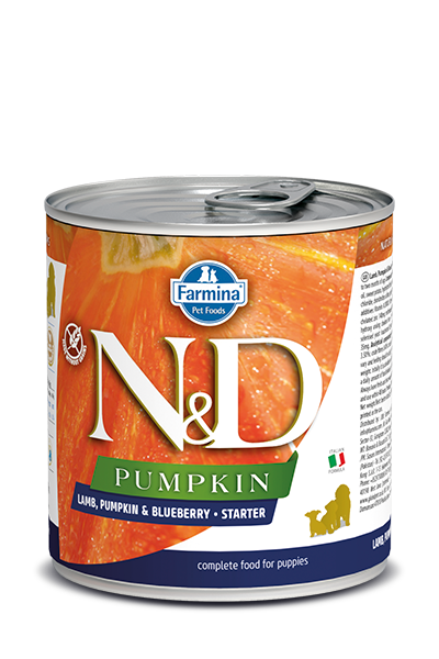 Farmina N&D Pumpkin Grain Free Dog Can Food Lamb & Blueberry Starter Med/Maxi
