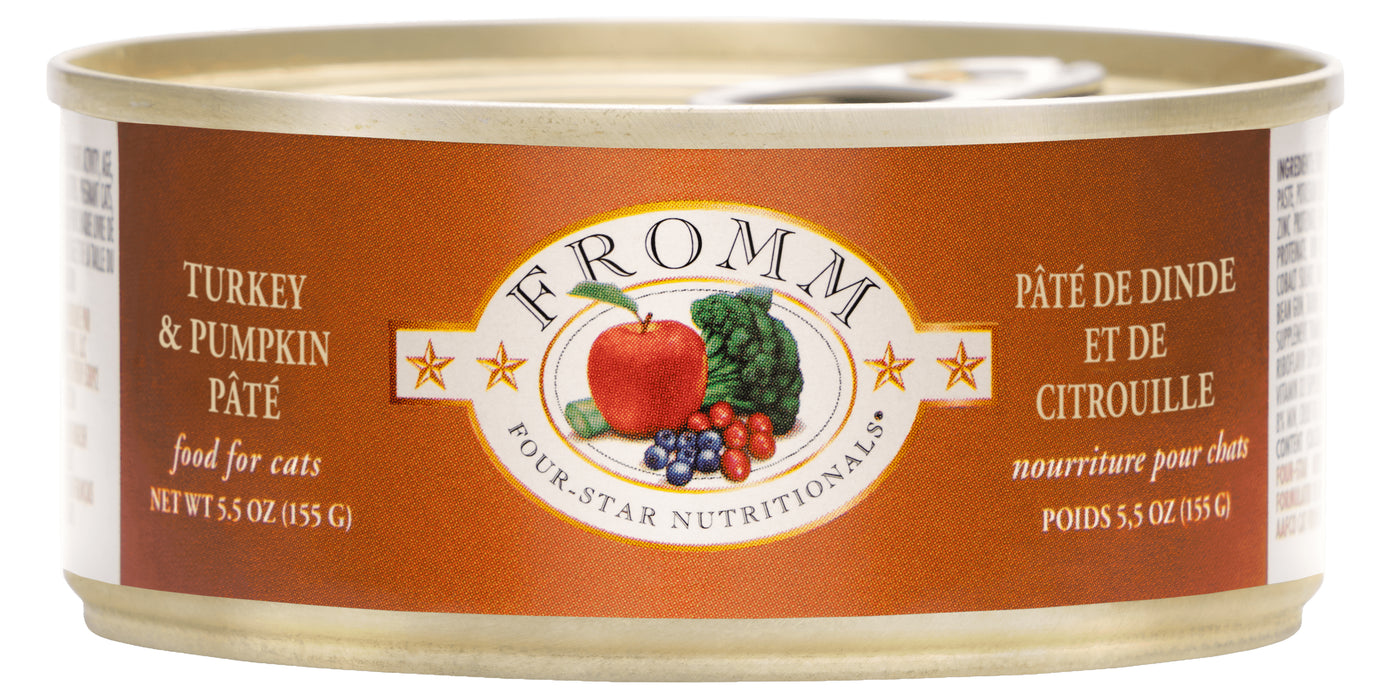 Fromm Four Star Grain Free Cat Can Food, Pate Turkey & Pumpkin
