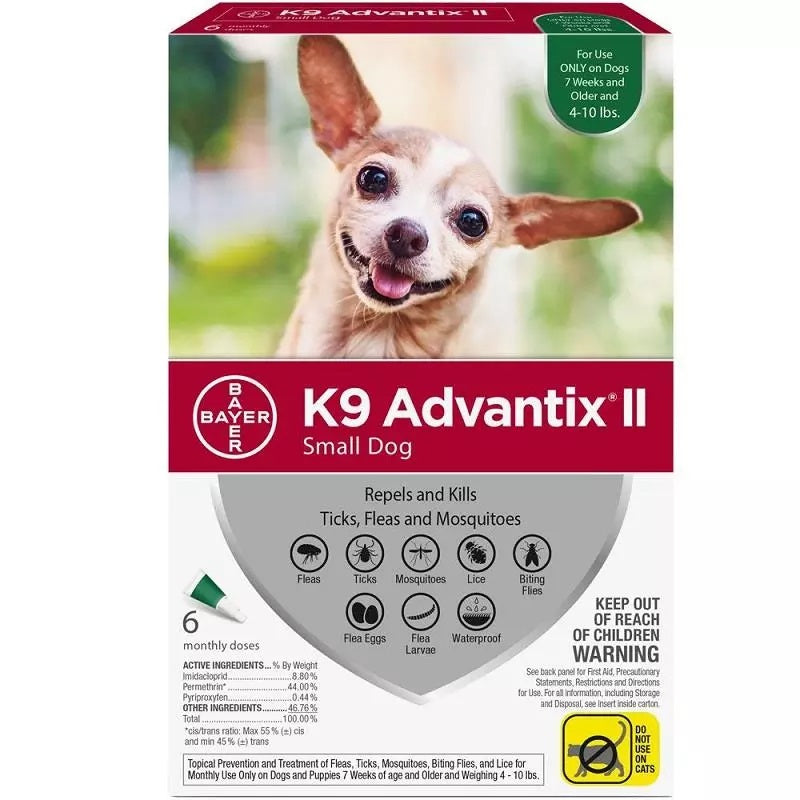K9 Advantix II Topical Flea & Tick Treatment, Small Dog (4lb-10lb), 6pk