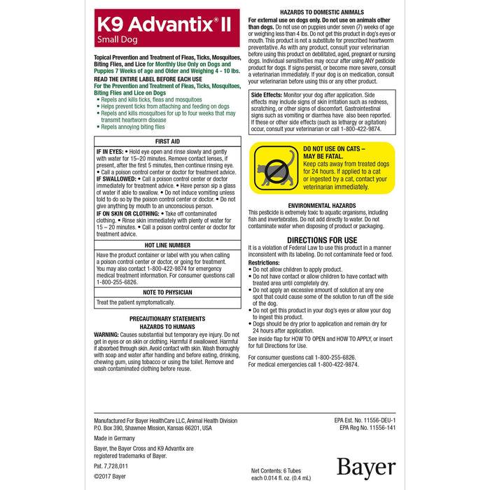 K9 Advantix II Topical Flea & Tick Treatment, Small Dog (4lb-10lb), 4pk