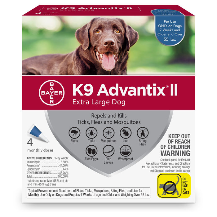 K9 Advantix II Topical Flea & Tick Treatment, XLarge Dog (55lb&up), 4pk