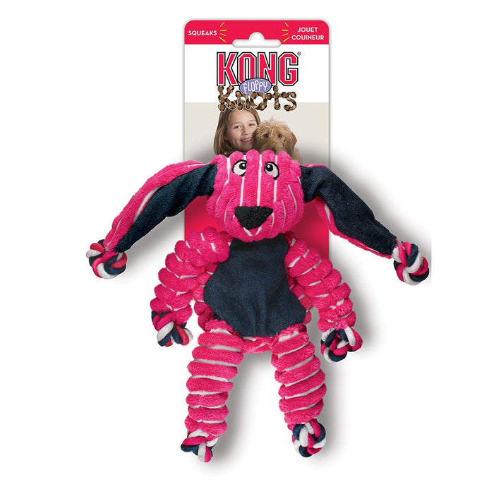 Kong Floppy Knot Pink Bunny Dog Toy
