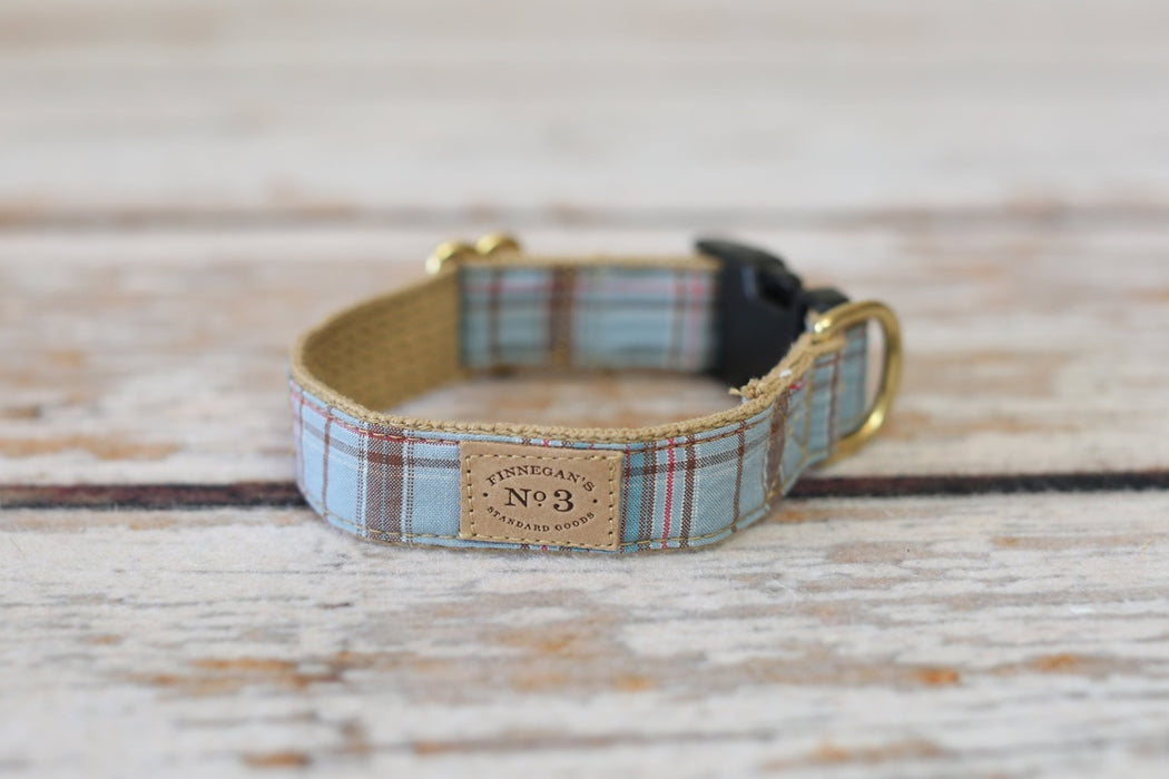 Finnegan's Cloth Dog Collar Light Blue Plaid