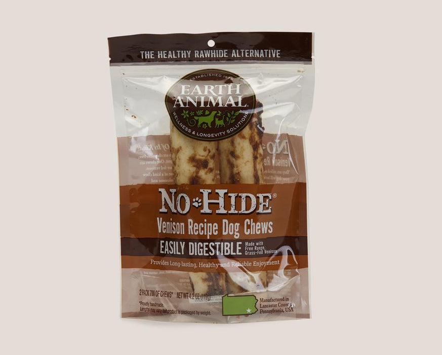 Earth Animal No Hide Dog Chew Venison 2 pieces 7""