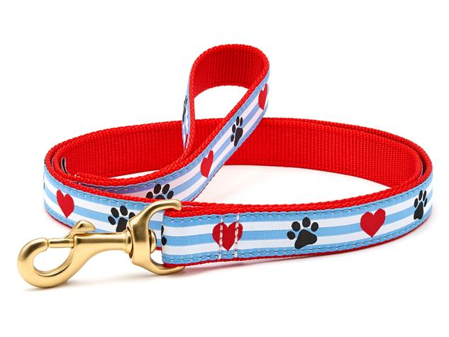 Up Country Dog Leash Pawprint Stripe