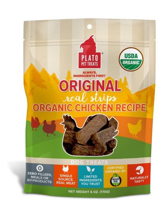 Plato Original Real Strips Dog Treats Organic Chicken Recipe, 18oz