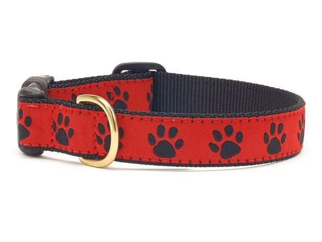 Up Country Dog Collar Red Black Paw