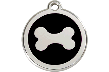 Red Dingo Enamel Pet ID Tag Bone (1BN), Large