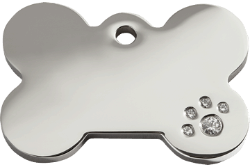 Red Dingo Diamante Pet ID Tag Bone (8BN), Small