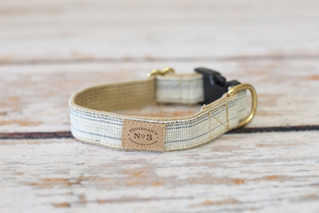Finnegan's Cloth Dog Collar Cream & Navy Seed Sack