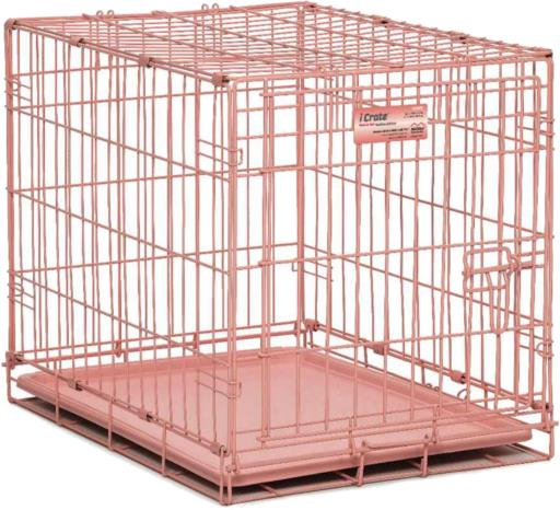 Midwest iCrate Folding Single Door Pink 24L x 18W x 19H (Currently in Stock in Store)