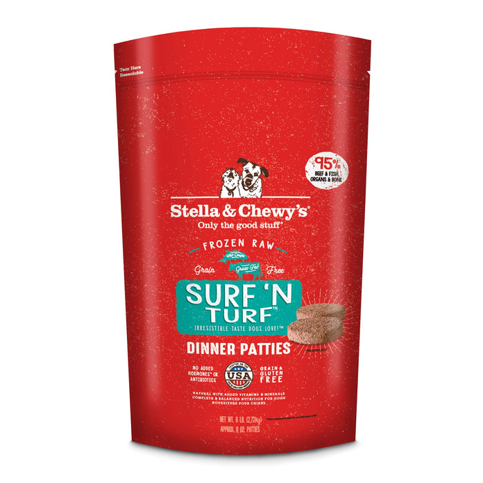 Stella & Chewy's Dog Frozen Raw Food Patties Surf & Turf