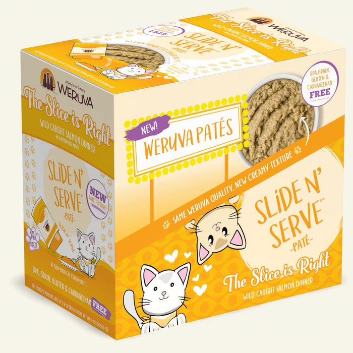 Weruva Slide N Serve Pate Grain Free Cat Wet Food Slice is Right Wild Caught Salmon Pouch