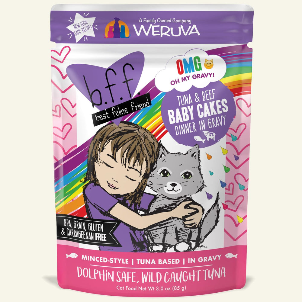 Weruva BFF Oh My Gravy Cat Wet Food Baby Cakes Tuna & Beef 3oz