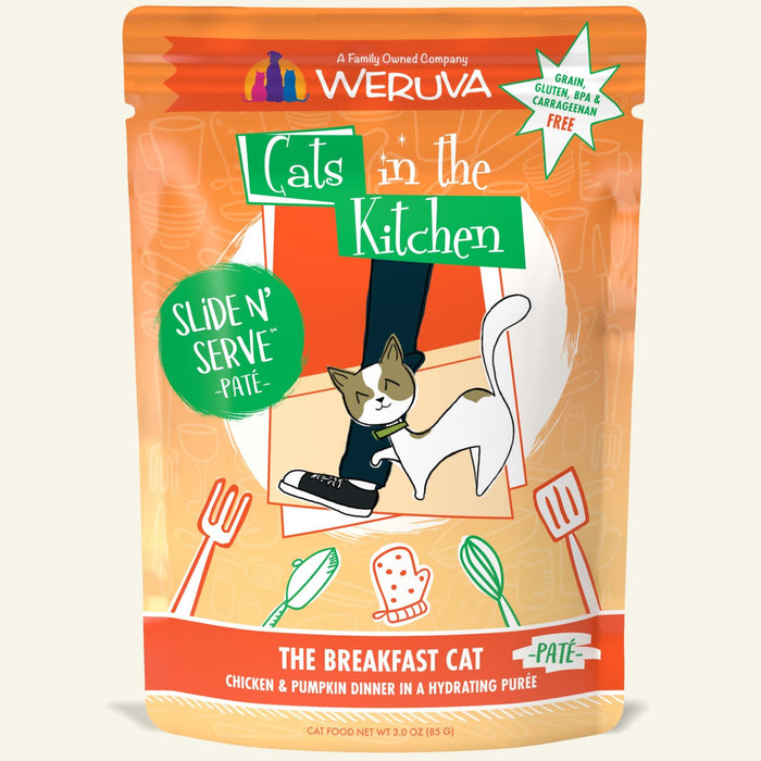 Weruva Cats in the Kitchen Slide N' Serve Pate Wet Food The Breakfast Cat Chicken & Pumpkin 3oz