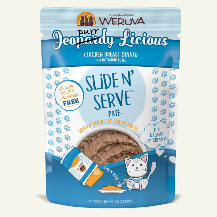 Weruva Slide N Serve Pate Grain Free Cat Wet Food Jeopurrdy Licious Chicken Breast Dinner Pouch