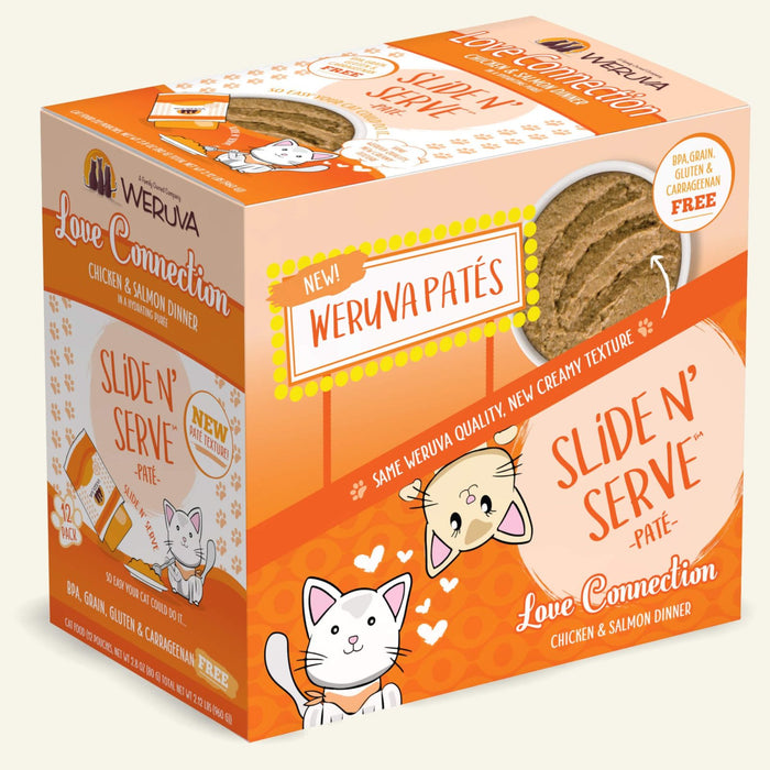 Weruva Slide N Serve Pate Grain Free Cat Wet Food Love Connection Chicken & Salmon Pouch