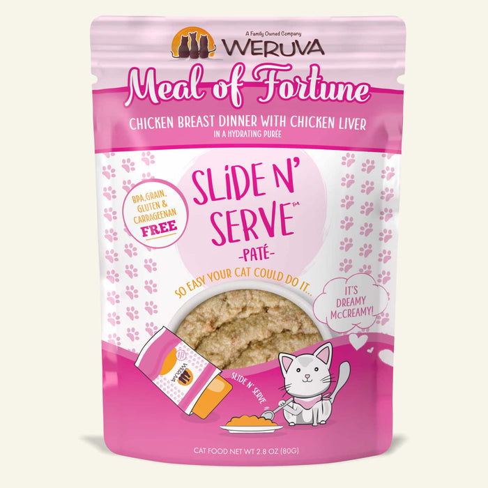 Weruva Slide N Serve Pate Grain Free Cat Wet Food Meal of Fortune Chicken Breast with Chicken Liver Pouch
