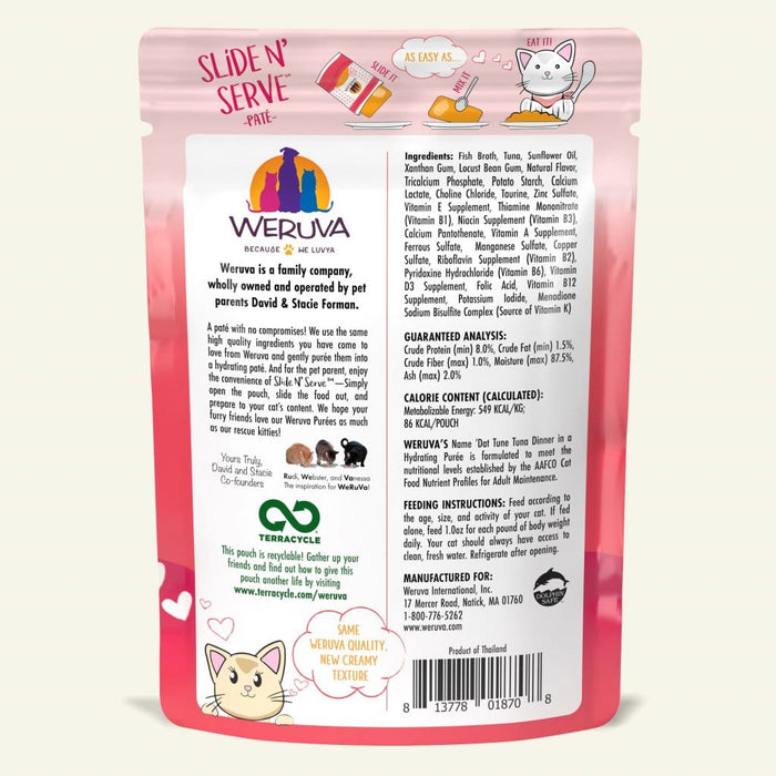 Weruva Slide N Serve Pate Grain Free Cat Wet Food Name Dat Tuna Tuna Dinner Pouch