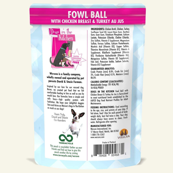 Weruva Dogs in the Kitchen Dog Grain Free Wet Food Fowl Ball 2.8oz