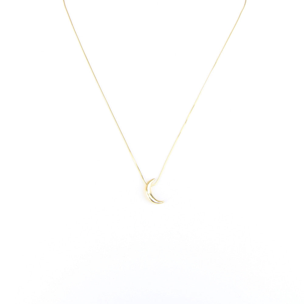Small Crescent Moon Necklace in 14k Gold
