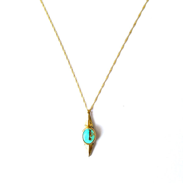 14k Gold Turquoise Double Point Necklace