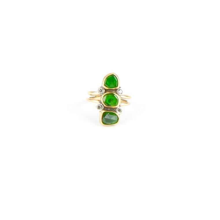 Triple Chrome Diopside Diamond Ring