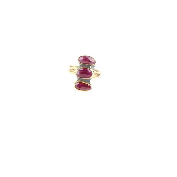 Triple Rose Cut Ruby Diamond Ring