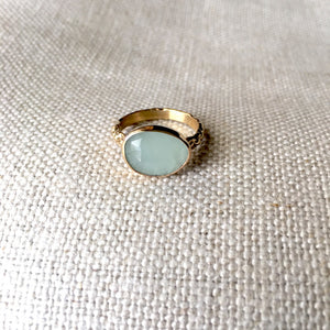 Rosecut Aquamarine Ring in 14k Gold