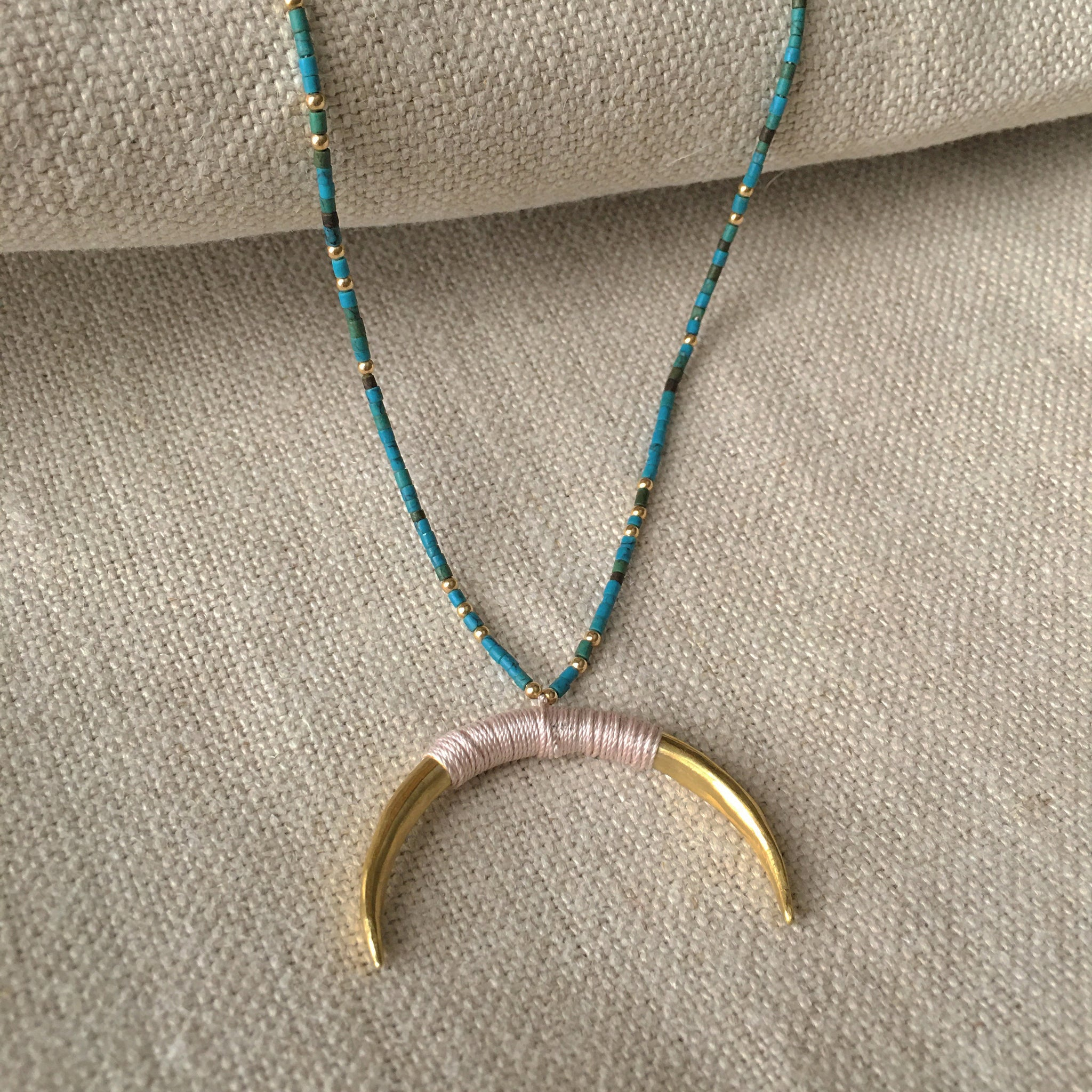 Beaded Crescent Necklace