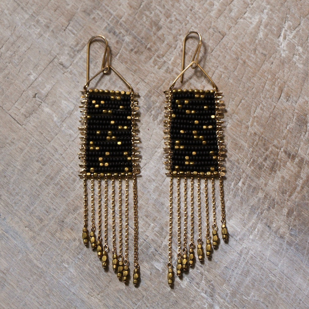 Black Seed Bead Drift Earrings