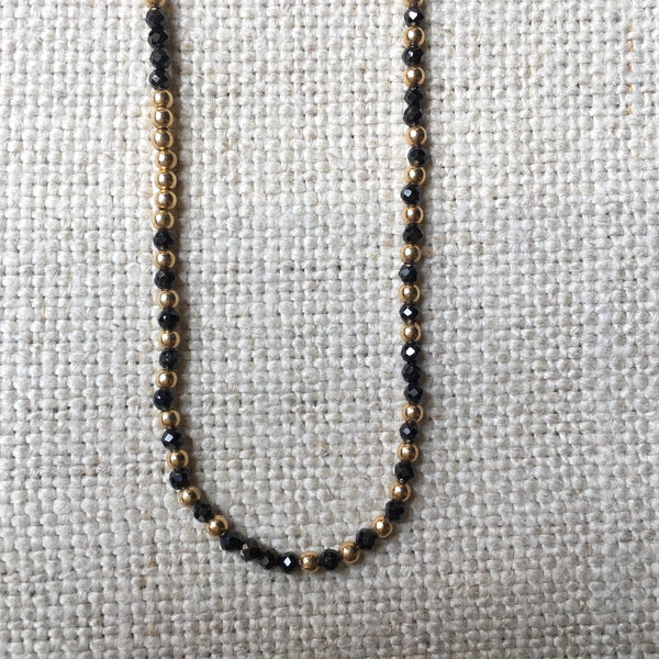Black Garnet and Gold Fill Necklace