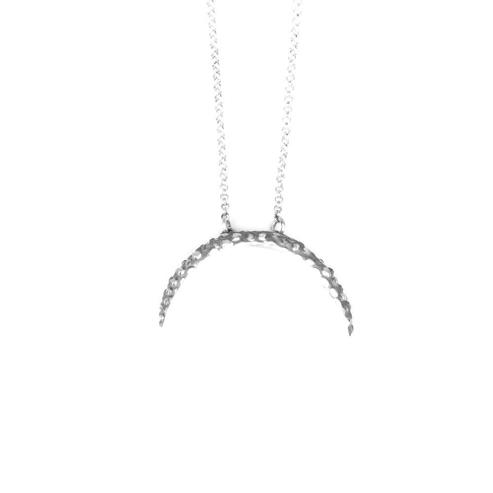 Silver Textured Crescent necklace