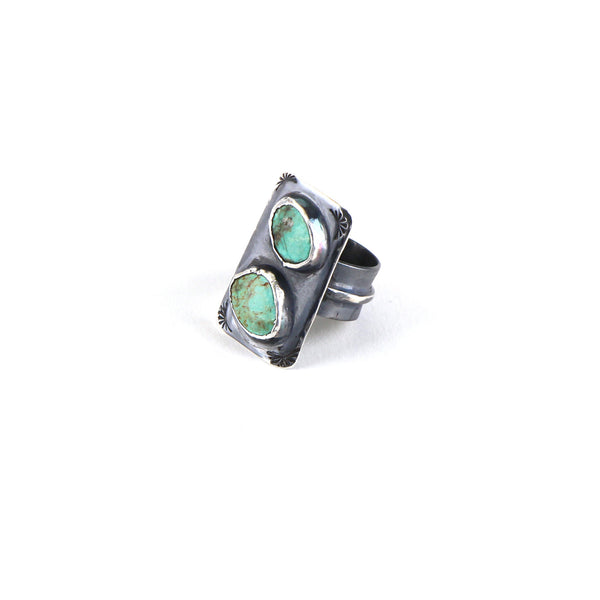 Double Turquoise Stamped Ring