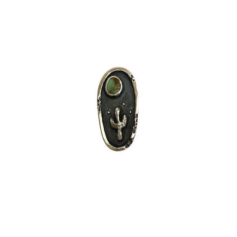 Framed Turquoise Cactus and Moon Ring