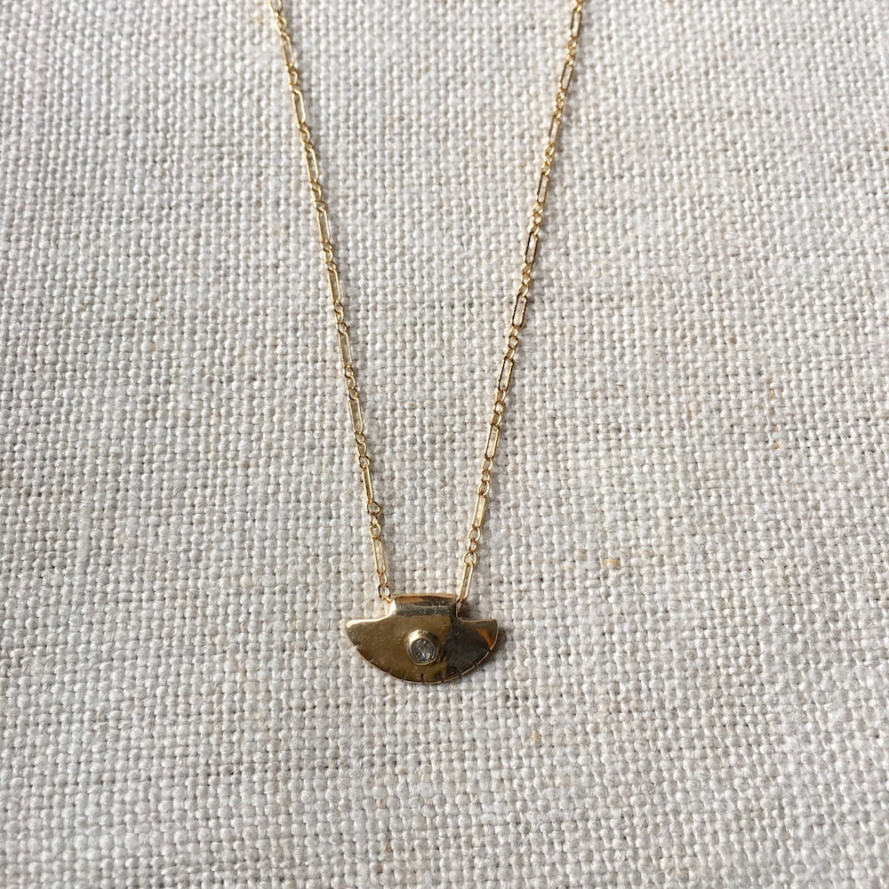 Diamond Disc Necklace in 14k Gold