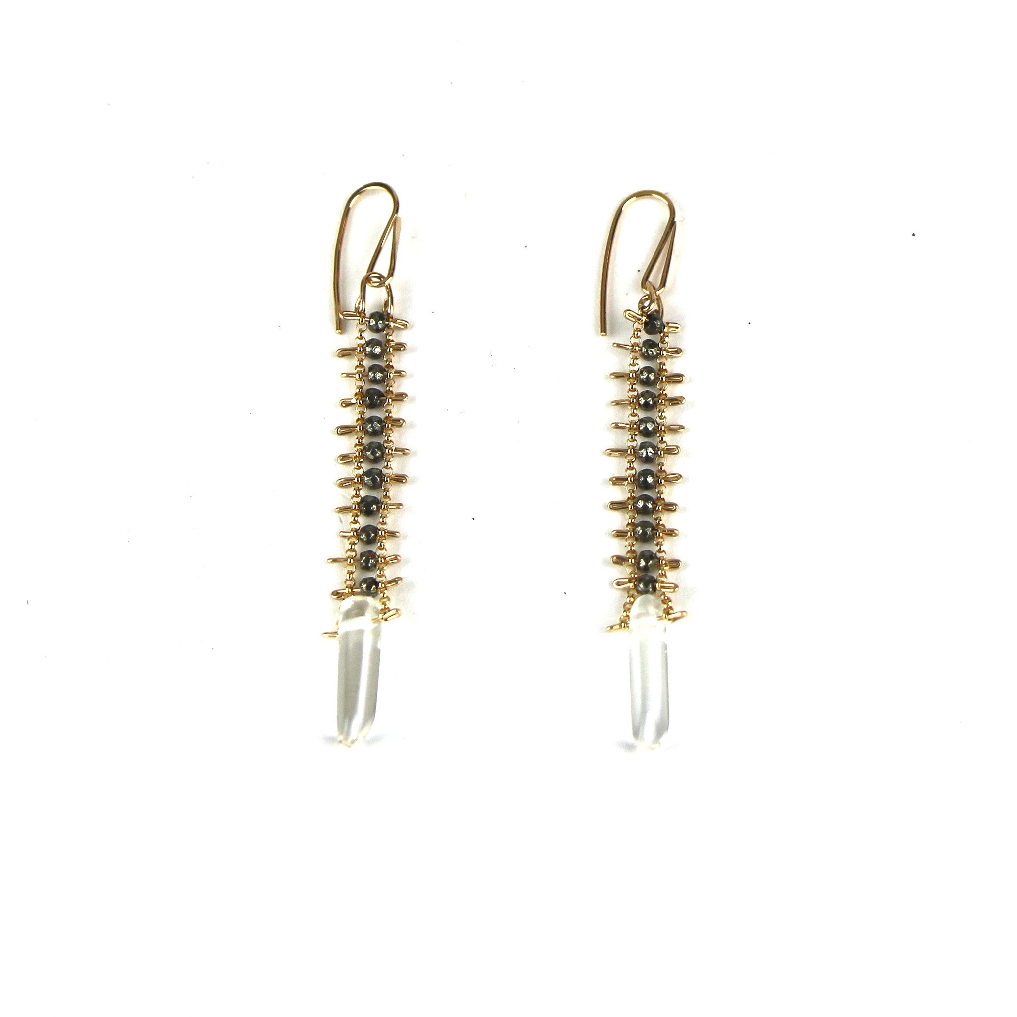 Pyrite and Crystal Earrings in Gold Fill