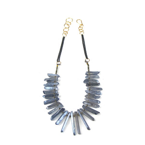 Pyrite and Blue Gray Crystal Necklace