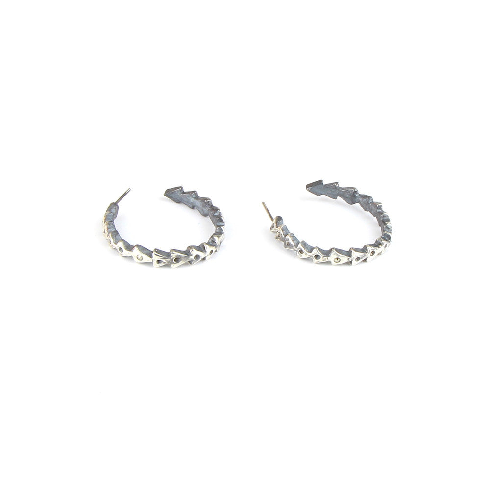 Silver Triangle Hoop Earrings with Pyrite Detail