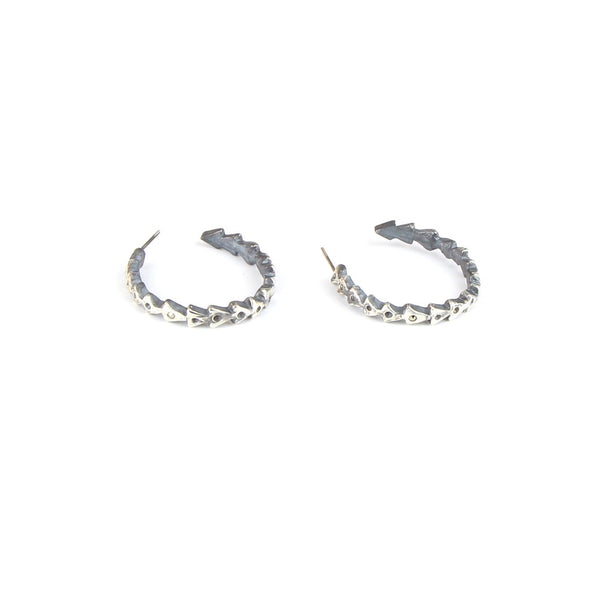 Triangle Hoop Earrings with Marcasite Detail